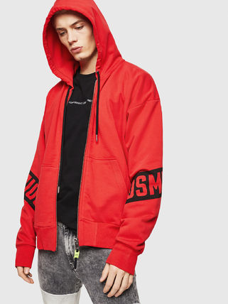 YUNY Mens Plus Size Pockets Velvet Hooded Zip Casual Pullover Sweatshirt Red L
