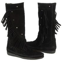 ★マイリー愛用!Minnetonka:Calf Hi Fringe Boot-Black★