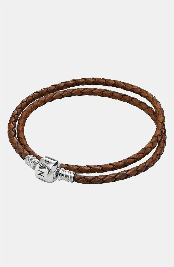 PANDORA パンドラ Leather Wrap Charm Bracelet BROWN 35cm