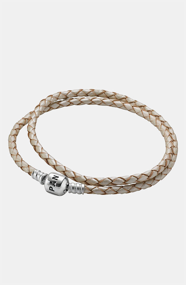PANDORA パンドラ Leather Wrap Charm Bracelet CHAMPAGNE 38cm