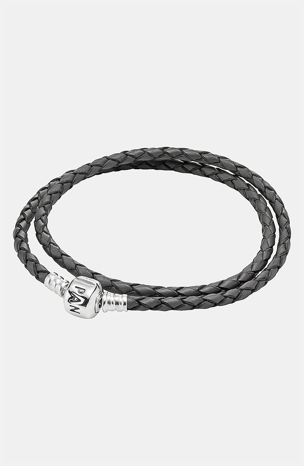 PANDORA パンドラ Leather Wrap Charm Bracelet GREY 35cm