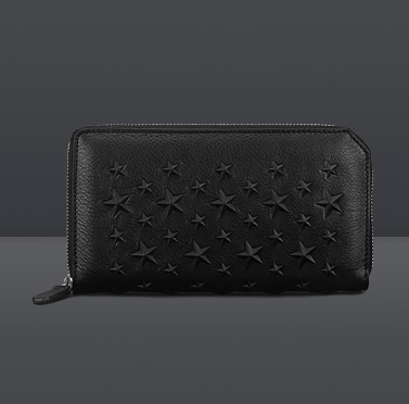 Rare Jimmy Choo long wallet CARNABY Black X Black Star