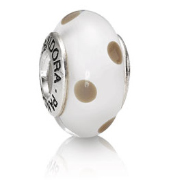 PANDORA パンドラ Polka Dots Glass White/Beige 790602