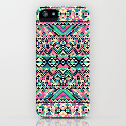 Society6 iPhone・スマホケース Society6 iPhone4/4S,5用 Pink Turquoise Girly Aztec Andes