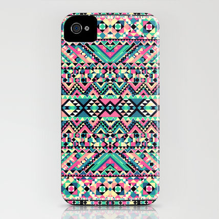 Society6 iPhone・スマホケース Society6 iPhone4/4S,5用 Pink Turquoise Girly Aztec Andes(3)