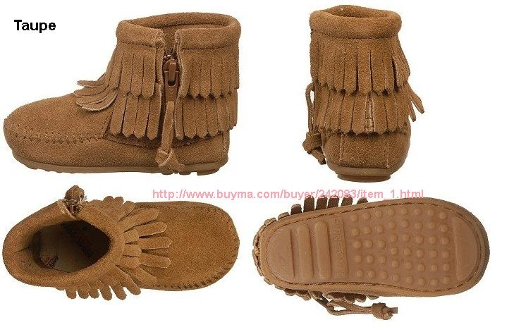 即発!3色あり Minnetonka Baby Double Fringe Side Zip ★