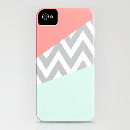 Society6 iPhone・スマホケース Society6 iPhone4/4S,5用 Mint & Coral Chevron Block(3)