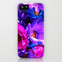 Society6 iPhone4/4S,5用 neon purple blue and pink flowers