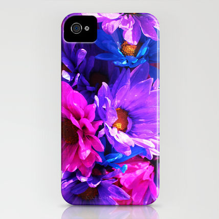 Society6 iPhone・スマホケース Society6 iPhone4/4S,5用 neon purple blue and pink flowers(3)