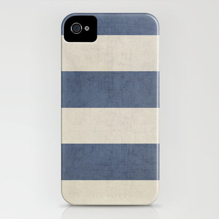 Society6 iPhone・スマホケース Society6 iPhone4/4S,5用 vintage dark blue stripes by Her Art(3)