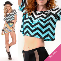 MINKPINK(ミンクピンク) Tシャツ・カットソー NEW 在庫所持★即納・関税負担★Chevron Crop Tee