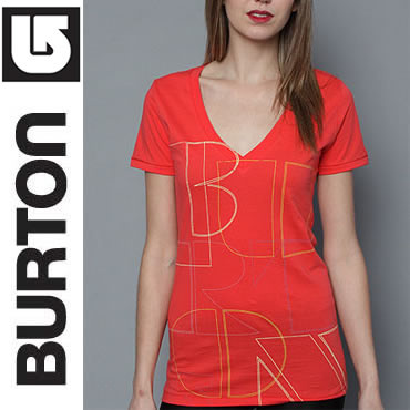 Burton Tシャツ・カットソー (最短翌日着)BURTON The Pieces V-Neck Tee in Electro Red