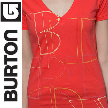 Burton Tシャツ・カットソー (最短翌日着)BURTON The Pieces V-Neck Tee in Electro Red(2)