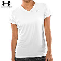 UA WOMEN'S UA TECH SHORTSLEEVE V-NECK WH