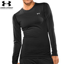 UA WOMEN'S COLDGEAR FITTED LONGSLEEVE CREW BK