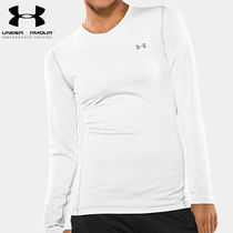 UA WOMEN'S COLDGEAR FITTED LONGSLEEVE CREW WH