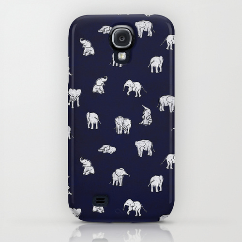 Society6 Indian Baby Elephants in Navy by Estelle F