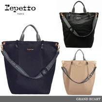 【repetto】GRAND ECART Silk Calfskin Leather Purse
