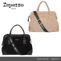 【repetto】DIAGONALE Silk Calfskin Leather Purse