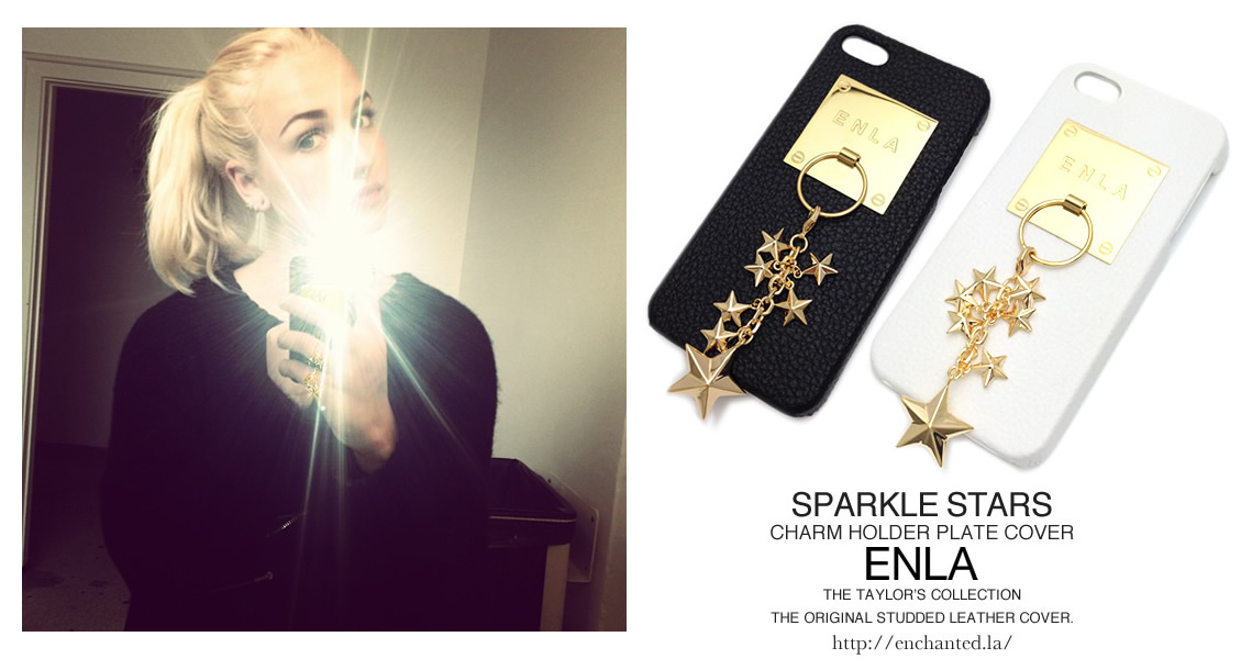 iPhone5s対応ケース★彡【ENLA】SPARKLE STARS CHARM COVER GOLD