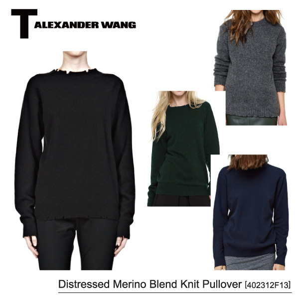 【T by Alexander Wang】Distressed Merino Blend Knit Pullover