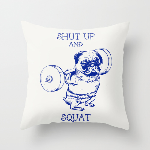 Society6★クッション★Pug Squat by Huebucket