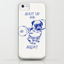 Society6 Pug Squat by Huebucket