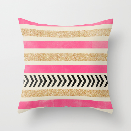 Society6★クッション★PINK AND GOLD STRIPES AND ARROWS