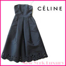 ★CELINE★素敵!Black Floral Cutout Hem Strapless Dress