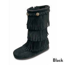 ★大人気!! KIDS Minnetonka 3-LAYER FRINGE BOOT-Black★