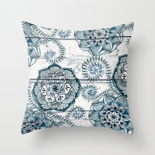 Society6★クッション★Navy Blue Floral Doodles on Wood