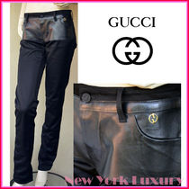 GUCCI★グッチ★素敵!Leather Cotton  Black Pants