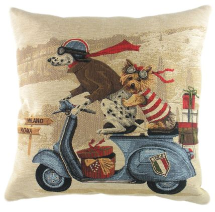 Scooter Dogs Belgian Tapestry  Cushion