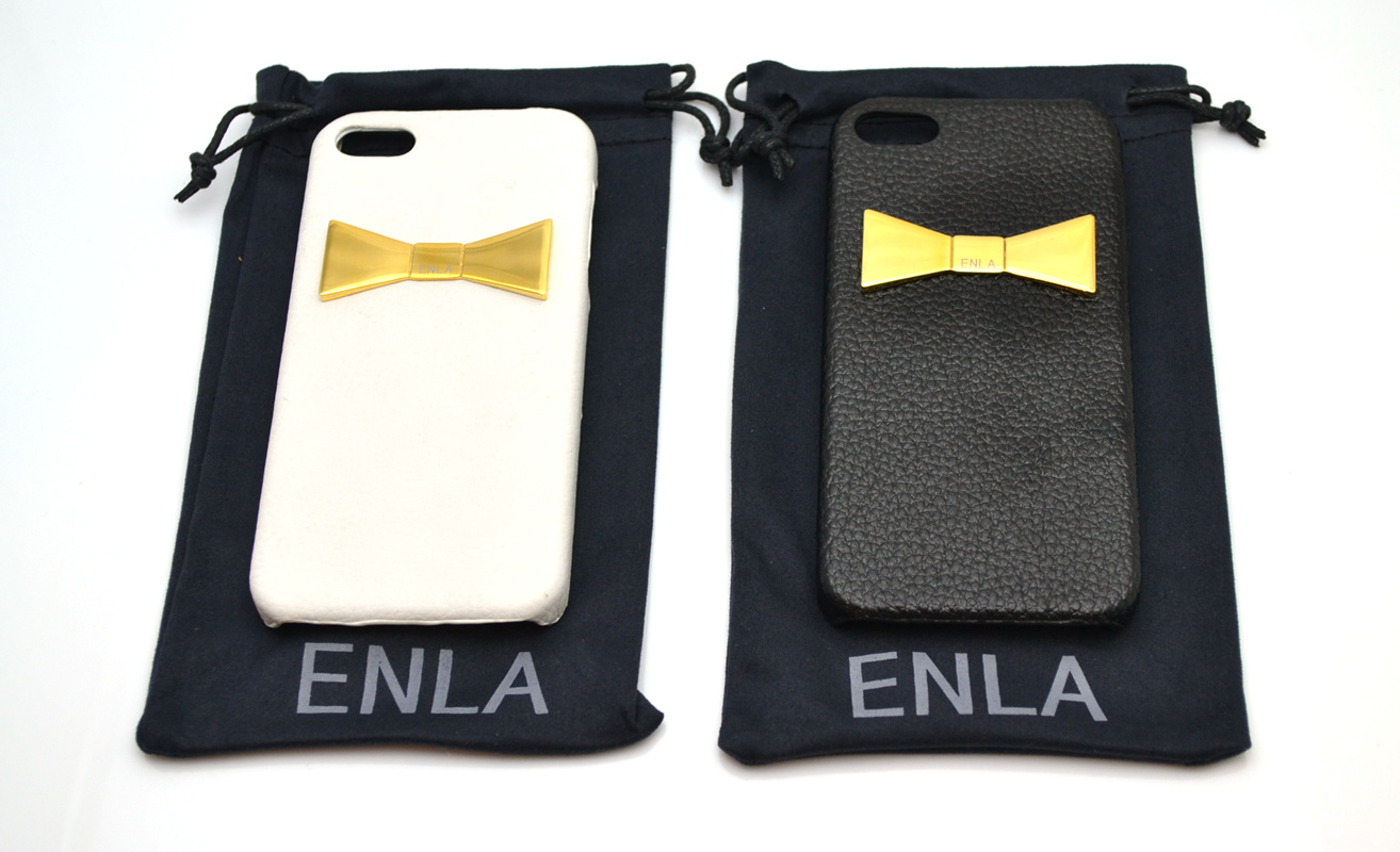 新作★iPhone5s/5対応【ENLA】GOLD RIBBON PLATE LEATHER CASE