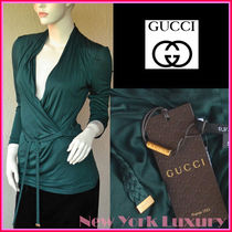 GUCCI★グッチ★素敵!Viscose Green wrap style Betled Top
