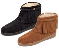 ★Minnetonka :Pile Lined Side Zip Fringe Boot★
