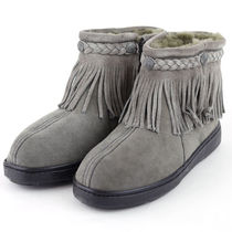 ♪Minnetonka Sheepskin Side Zip Fringe Boots Grey 3421T♪