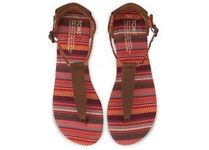 ★TOMS Brown Leather Woven Women's Playa サンダル★