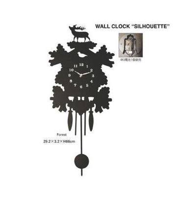 ■送料無料 WALL CLOCK SILHOUETTE (Forest)