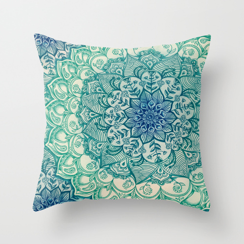 Society6★クッションカバー★Emerald Doodle by Micklyn