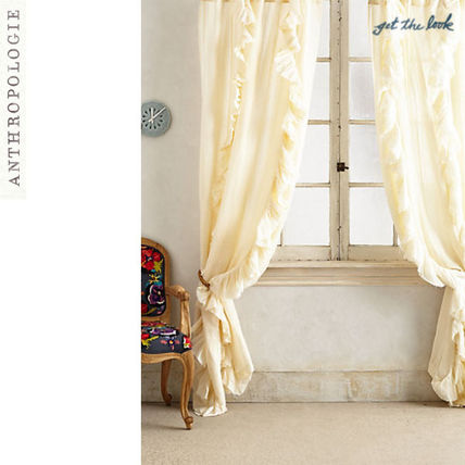 Anthropologie wondering pleated curtain ivory