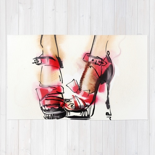 Society6★ラグマット★Red shoes◆M:91.0cm × 152.0cm