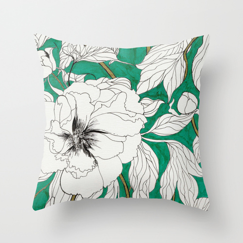 Society6★クッションカバー★green peonies by Marcella Wylie