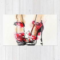 Society6★ラグマット★Red shoes◆S:61.0cm × 91.0cm