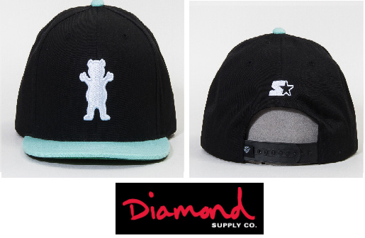 *US限定* OG Bear Logo Starter Snapback Hat in BK/Diamond
