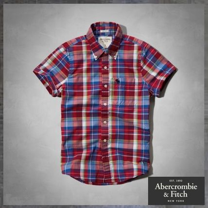 【Abercrombie & Fitch】Y シャツ 赤 チェック柄 (送料無料)