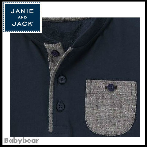 【Janie and Jack】シャンブレーアクセント長袖Tシャツ 国内発送
