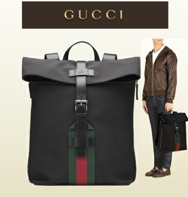 イチオシ☆新作人気★【GUCCI】black techno canvas backpack