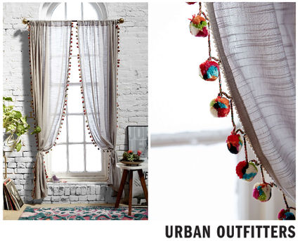 Two 15 %OFFUrban Outfitters * pom poms with curtains