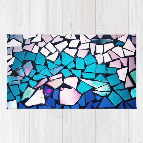 Society6★ラグマット★Turquoise and blue◆S:61.0cm × 91.0cm